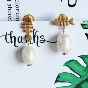 Tory Burch Asymmetrical Fishbone Pearl Earrings